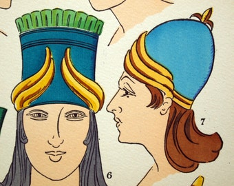 1925 French Art Deco Pochoir Print / Vintage Print on Assyrian Women's Hairstyles and Headwear. Plate 7 - Handcolored - Vintage Fashion
