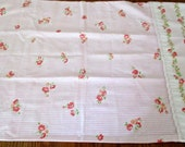 Reclaimed Pillowcase - Shabby Rose Chic Flora and Stripes Pink Cottage