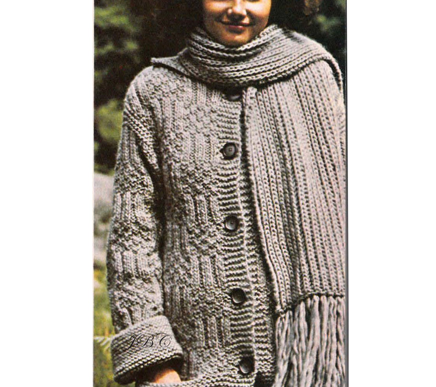 Sweater Coat Pattern Scarf Knitting Vintage Cable Knit