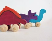 Wooden Dinosaur Set Eco Children Friendly Mini Push Toys Waldorf Wooden DInos