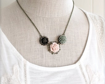 Shabby floral necklace.  Antique brass with earthy flowers.  Pink brown moss green.