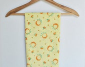 "Large Flour Sack - Yellow with Orange Flower Wreaths - 36"" x 46"" - Authentic Vintage - Feed Sack"
