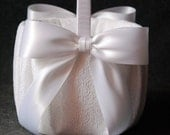 Flower Girl Basket with White Lace and Double Faced Satin Bow - Katherine