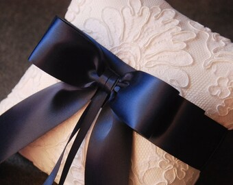 Ring Bearer Pillow - White Ring Pillow with Lace Overlay and Navy Ribbon Bow - Keira