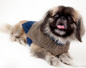 Grey and blue large dog sweater // Chandail de laine pour chien bleu & gris