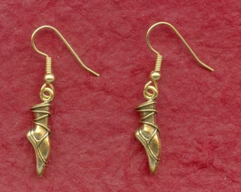 Dance Ballet 3D Pointe Earrings Gold or Silver Plated