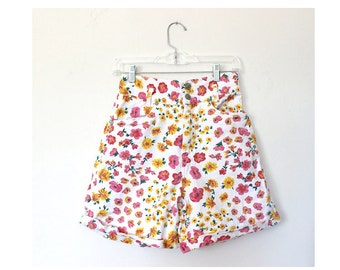 XS Pink Floral Jean Shorts White Orange 80s