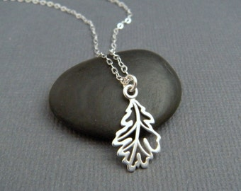 silver oak leaf necklace. small filigree necklace. sterling silver. simple nature pendant. strength single leaf everyday dainty jewelry gift