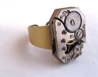 Back in time - Steampunk Ring - Repurposed art