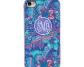 On Sale! Bright Floral Pink Purple Teal White, Black or Clear Sides iPhone Case IPhone 4, 4S, 5, 5S, 5C Hard Cover - Trendy - artstudio54