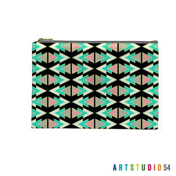 "Geometric Triangle Aztec Pattern on a Pouch, Make Up, Cosmetic Case Travel Bag Pencil Case - 9"" X 6"" -  Large -  Made by artstudio54"