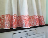 French Country Cottage Coral Paisley Cafe Curtain 57 x 27 inch home decor one panel