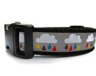 Rain Clouds Dog Collar Custom Adjustable Extra Small, Small, Medium or Large