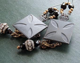 Vintage Assemblage Rhinestones Dangle Earrings