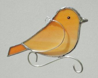 Orange Stained Glass Songbird Home Decor Suncatcher
