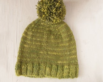 Sale Knitted Green Stripe Alpaca Toddler 2 year old Hand Knit Hat Handspun