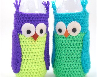 Water Bottle Cozy - Water Bottle Sleeve - Crochet Owl Pattern - Dasani bottle size - PDF Pattern - Summer Crochet