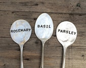 3 Vintage Hand Stamped Flattened Silver Spoon Herb Garden Pot Plant Markers. Up-cycled Personalized Cutlery Gift . Eatcreations.