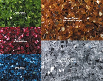 "Crushed Deco Glass 9 colors-vase fillers-1-4mm pieces per 2""x3"" bag-green glass-burgundy glass-blue glass-red glass-brown glass"