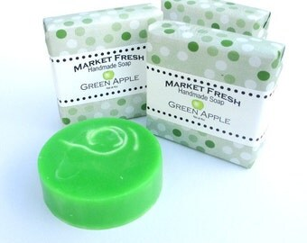 Green Apple Soap, Market Fresh, handmade glycerin soap, fruit fragranced.