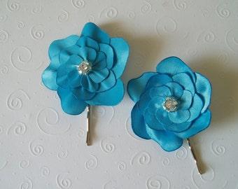 Wedding hair piece Bridal Hair Flower flowers Bridesmaids Hair Pieces bobby pin hair pins TURQUOISE BLUE