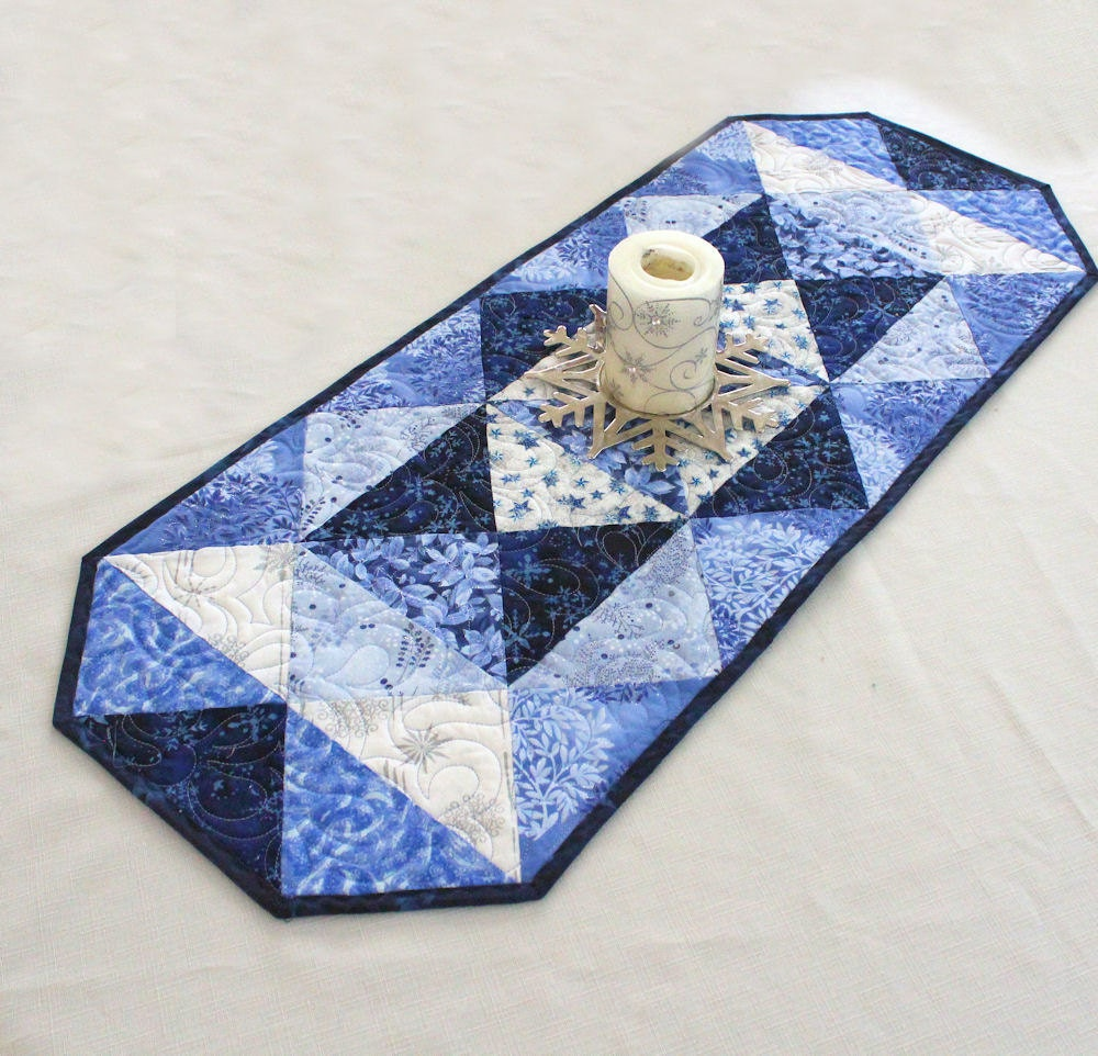 Quilted Christmas Table Runner Blue Christmas Triangles