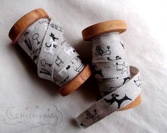 Shinzi Katoh Linen Tape - 18mm wide ribbon - Dogs / Cats