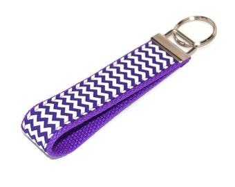 Purple Chevron Key Fob Keychain -  Fabric Keyfob Wristlet - Key Chain - Key Holder - Wristlet - Bag Tag