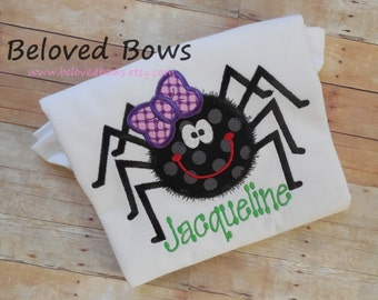 Sweet Spider Applique Ruffle Shirt, Halloween Shirt, Personalized Halloween Shirt, Girly Spider Halloween Shirt