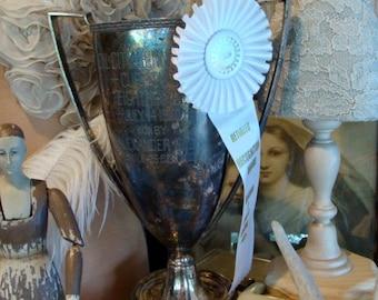 Vintage Trophy Award Rosette Place Ribbon
