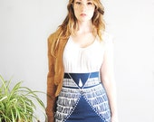 Nyala - High Waisted Pencil Skirt - in Sea Blue - By Simka Sol