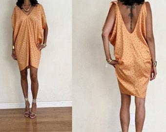 Vintage Upcycled Peach All Over Square Graphic Print Drape FESTIVAL Resort Caftan Mini Dress M