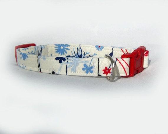 Handmade Dog Collar Blue Flower
