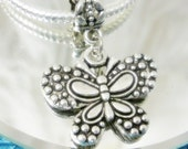 Ornate Butterfly Silver Dangle Charm-Butterfly Add a Charm