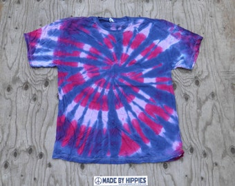 Purple and Pink Spiral Tie Dye T-Shirt (Jerzees Size XL) (One of a Kind)