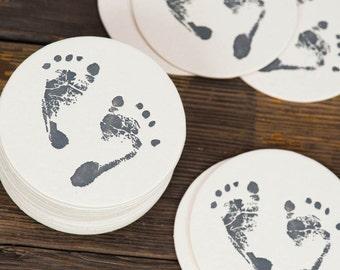 Little Feet Gray - Letterpressed Paper Coasters