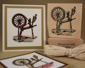 SPINNING WHEEL  - wood mounted rubber stamp -(MCRS 21-01)