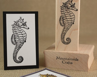 SEA HORSE  - right or left facing- wood mounted rubber stamp(right 20-24)(left 20-25)
