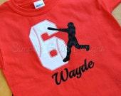 Custom baseball birthday shirt. Sizes 12m to youth medium. Other sizes, colors and fabrics available.