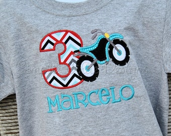 Dirt bike birthday shirt. Personalized. Sizes 12m to youth small.