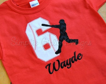 Custom baseball birthday shirt. Sizes 12m to youth medium. Other sizes, colors and fabrics available.