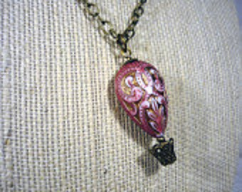 SALE - Pink and Gold Hot Air Balloon Necklace