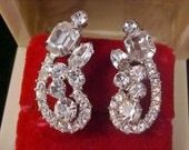 FreeShip ~ De Lizza & Elster JULIANA Diamante Silver Rhodium Plate Clip Earrings
