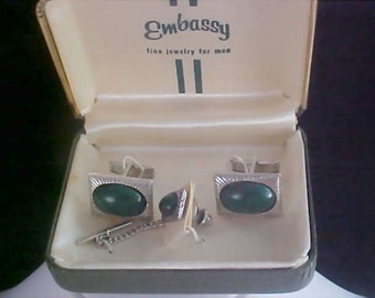 Reduced~Simulated Australian Black Opal Tie Tac & Cuff Link Set by Embassy