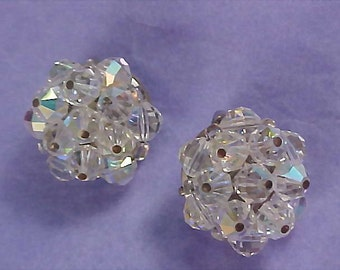 Hand Wired Cut Faceted CRYSTAL 1960 Clip Earrings