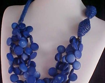 Festoon Bib~Cobalt Blue & White Speckled  Wooden Beads ~  Rondelles Necklace