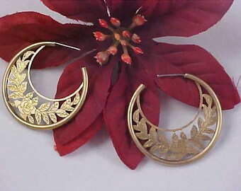 Open FLORAL Gold Plate HOOP Post Earrings