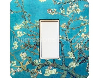 Vincent Van Gogh Almond Branches Painting Square Decora Rocker Light Switch Plate Cover