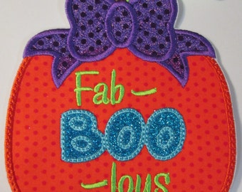 Halloween Iron On Applique - Fab-BOO-lous Pumpkin with Bow