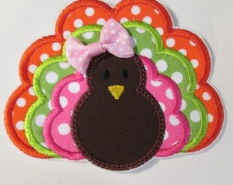 Thanksgiving Turkey Iron On Applique  NEW Color Styles Now Available   SHIPS FAST
